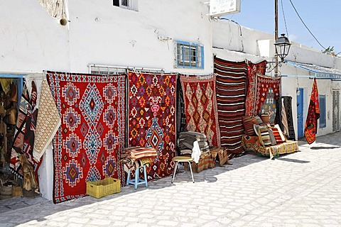 Carpet dealers, market in Houmt Souk on Djerba Island, Tunisia, Maghreb, North Africa, Africa