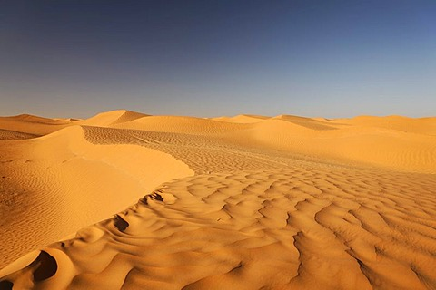 Desert landscape in the Sahara near Ksar Ghilane, Tunisia, Maghreb, North Africa, Africa