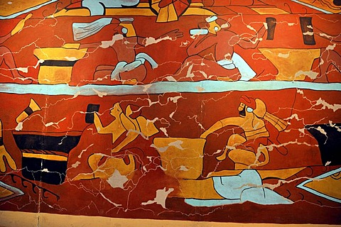 Replica of the mural of The Pulque Drinkers, a traditional drink of the Aztecs, the museum of the pre-Hispanic Pyramid of Cholula, San Pedro Cholula, Puebla, Mexico, Latin America, North America