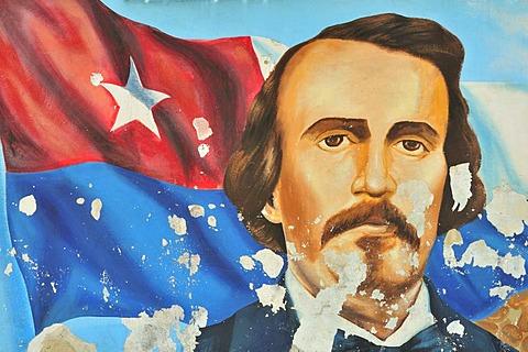 Mural of the abolitionist and Cuban national hero Carlos Manuel de Cespedes del Castillo, Bayamo, Cuba, Caribbean