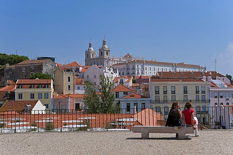 Sao Vicente da Fora Church viewed from the Santa Luzia viewpoint, Alfama district, Lisbon, Portugal, Europe