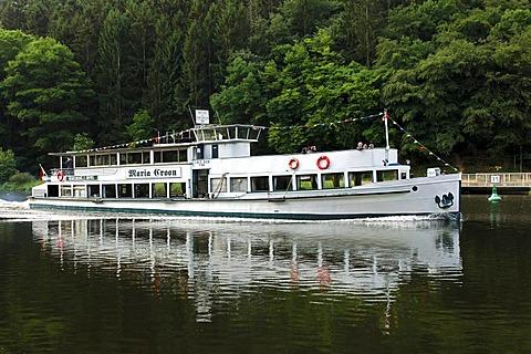 Maria Croon, a cruise ship on the Saar Loop at Mettlach, Saarland, Germany, Europe