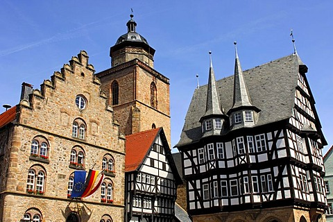 Medieval architectural ensemble on the marketplace of Alsfeld, from left to right, Wine House, Walpurgis Church tower, the oldest half-timbered house of the city, Markt 2, and the historic Town Hall, Alsfeld, Hesse, Germany, Europe