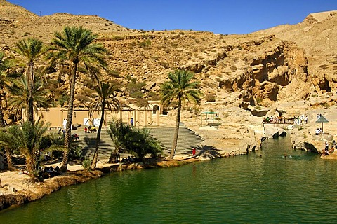 Bathing lake in the recreation area Wadi Bani Khalid, Sultanate of Oman, Middle East