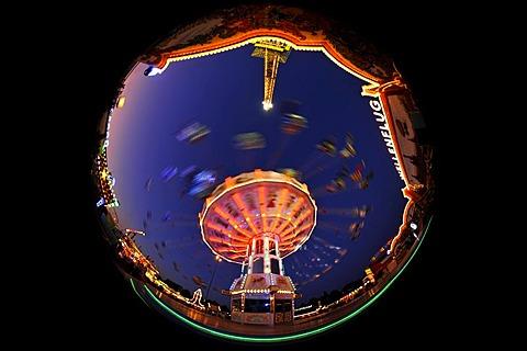 Night scene, fisheye shot, Chair-O-Planes or swing carousel, Cannstatter Volksfest, Wasen, Stuttgart Beer Festival, Bad Cannstatt, Stuttgart, Baden-Wuerttemberg, Germany, Europe, PublicGround