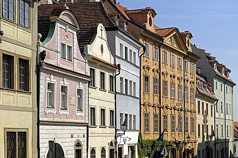Row of historic houses, Mala Strana district, Prague, Bohemia, Czech Republic, Europe