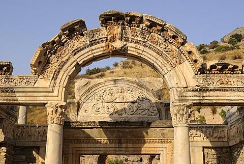 Excavations at the Temple of Hadrian, Curetes Street, ruins of Ephesus, Ephesus, Efes, UNESCO World Heritage Site, Selcuk, Lycia, Southwest Turkey, West Coast, Western Turkey, Asia Minor