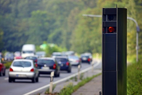 Radar controlled speed monitoring with a TraffiTower speed camera, on the federal road B224, Braukstrasse, in a 70 kilometers per hour speed-limit zone, Bottrop, North Rhine-Westphalia, Germany, Europe