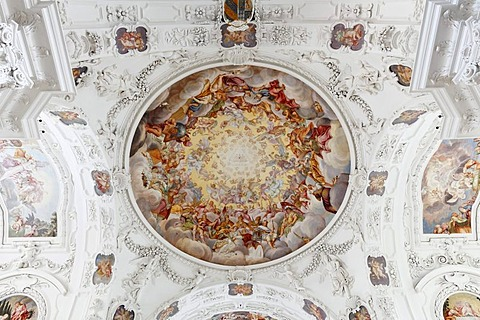 Ceiling fresco by Hans Georg Asam, parish church of St. Quirin, former monastery church, Tegernsee, Upper Bavaria, Bavaria, Germany, Europe