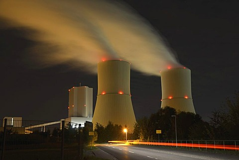 Lippendorf lignite-fired power plant at night, Saxony, Germany, Europe