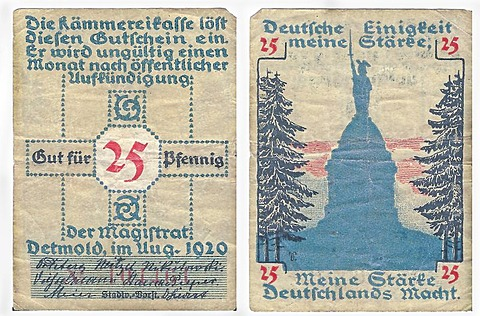 Coupon, front and back, value of 25 pfennig, from the Kaemmereikasse, Detmold, Germany, circa 1920