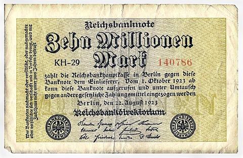 Old banknote, front, Reichsbanknote, 10, 000, 000 mark, Reichsbankhauptkasse, Reichsbankdirektorium, circa 1923