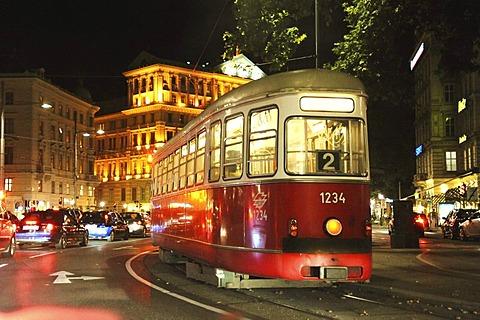 Old Viennese tram, line 2, 1st District of Vienna, Austria, Europe