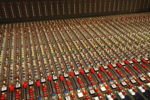 Mixing desk in a recording studio
