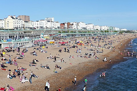 Crowded Brighton Beach, Brighton, Sussex, England, United Kingdom, Europe