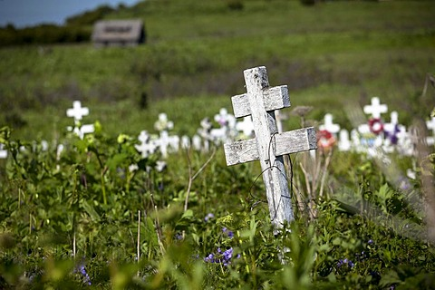 Cemetery of the Russia Orthodox Church in Ninilchik on the Kenai Peninsula, Alaska, USA, PublicGround