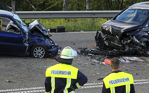 Collision of two cars and a motorcycle, one person was killed, B327 federal highway near Waldesch, Rhineland-Palatinate, Germany, Europe