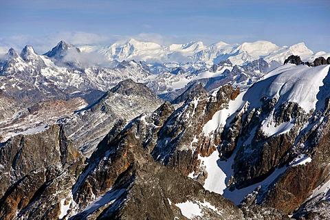 Aerial view, flight over the Andes, Tierra del Fuego, Argentina, South America