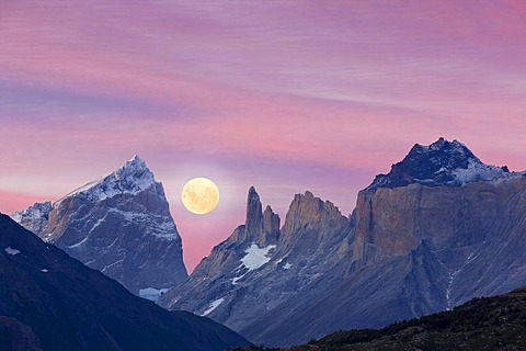 Full moon over the mountains, Torres del Paine National Park, Patagonia region, Chile, South America