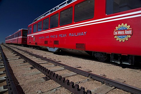 The Manitou and Pikes Peak Railway on the summit of Pikes Peak; the cog railway takes tourists to the top of the 14, 100-foot mountain, Colorado Springs, Colorado, USA