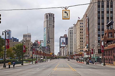 Woodward Avenue, Detroit's main street, Detroit, Michigan, USA