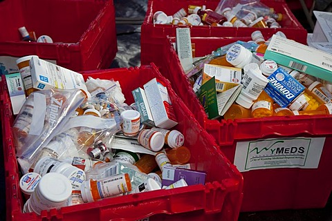 Unwanted or expired prescription and over-the-counter medicines collected for safe disposal by members of the Michigan Pharmacists Association, Lansing, Michigan, USA