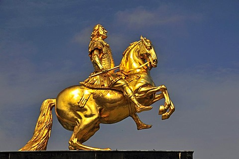 Golden Rider, equestrian statue of Augustus II of Saxony, Augustus the Strong, Dresden, Saxony, Germany, Europe, PublicGround