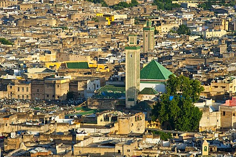 Overlooking the historic town centre, Medina, Fez el-Bali, with the Kairouan Mosque, Fez, Morocco, Africa