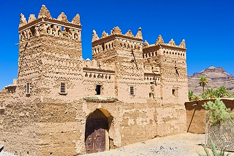 Traditional kasbah, mud fortress, mud brick building of the Berber tribes, Tighremt, with ornaments, Agdz, Draa-Valley, Southern Morocco, Morocco, Africa