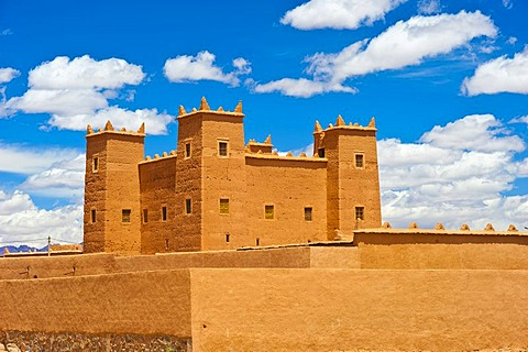 Restored kasbah, mud fortress, residential castle of the Berbers, Tighremt, Nekob, southern Morocco, Morocco, Africa