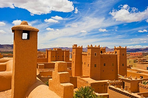Restored kasbahs, mud fortresses, residential castles of the Berbers, Tighremt, Nekob, southern Morocco, Morocco, Africa