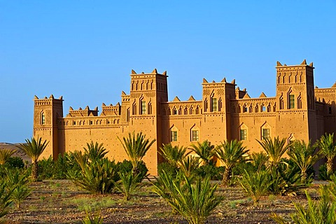 Kasbah with many ornamental decorations, mud fortress, residential castle of the Berbers, Tighremt, Ouarzazate, southern Morocco, Morocco, Africa