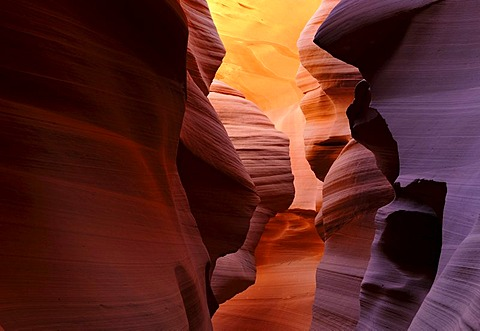 Red sandstone of the Moenkopi Formation, rock formations, colours and textures in the Lower Antelope Canyon, Corkscrew Canyon, Page, Navajo National Reservation, Arizona, United States of America