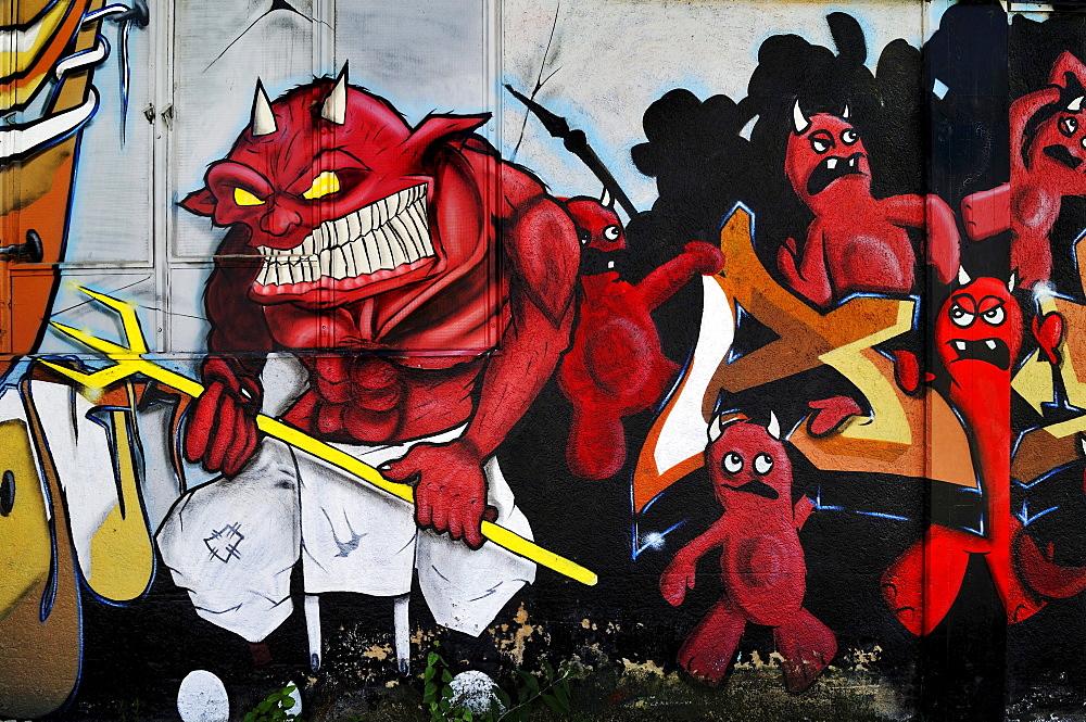 """""""True Devils"""" graffiti opposite the Theater-Halle 7, Gerolsteiner Ring, Munich, Bavaria, Germany, Europe, PublicGround"""