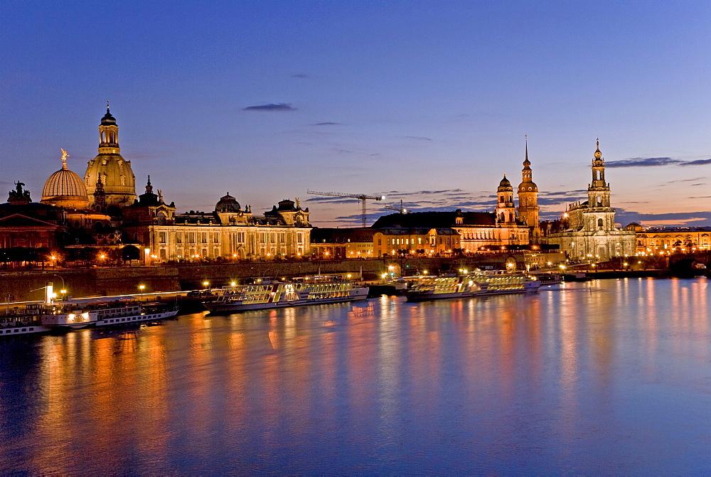 Skyline at dusk, Dresden, Saxony, Germany, Europe