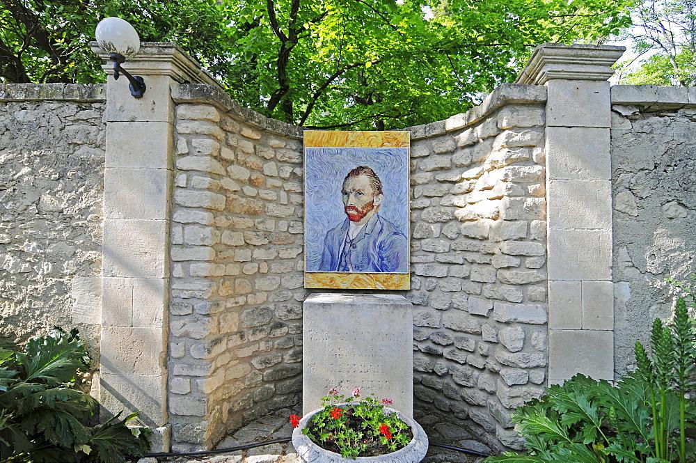 Self portrait of Vincent Van Gogh, Saint Paul de Mausole monastery, mental hospital, stay of Vincent Van Gogh, museum, Saint Remy de Provence, Provence-Alpes-Cote d'Azur, Southern France, France, Europe