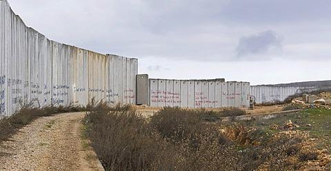 Separation wall near Kalandia or Qalandiya checkpoint, Ramallah region, Palestine, West Bank, Western Asia