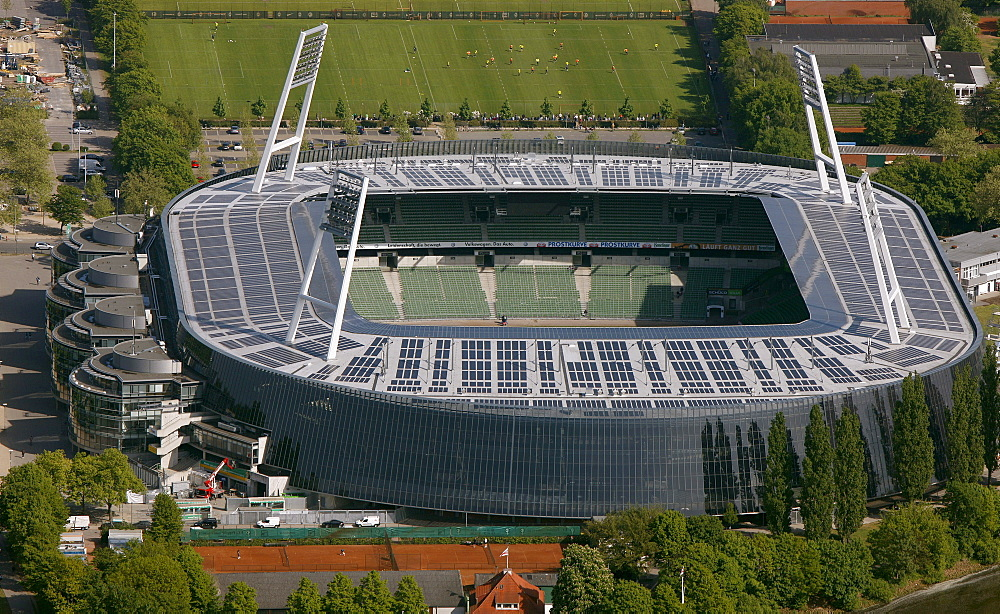 Aerial view, Weserstadion, stadium with solar panels on the roof, Bremen, Germany, Europe