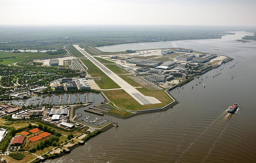 Aerial view, airstrip airport Hamburg-Finkenwerder and premises of the aircraft manufacturer Airbus, Hamburg, Germany, Europe