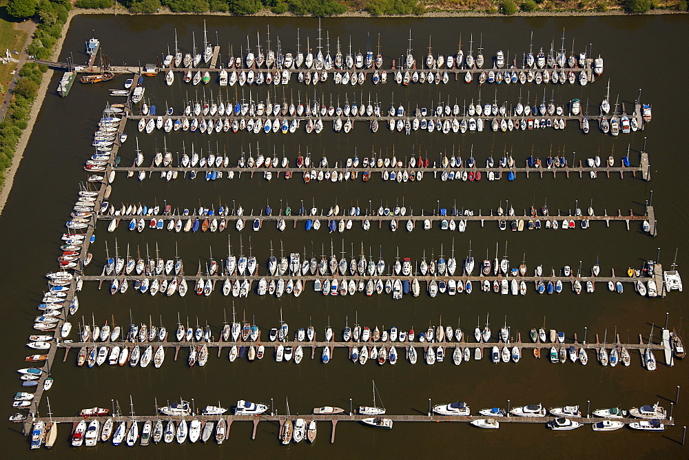 Aerial view, rows of boats, marina, sailing harbour, Hamburger Yachthafen-Gemeinschaft e.V. association, Wedel, Schleswig-Holstein, Germany, Europe