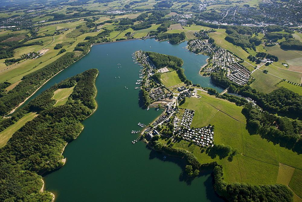 Aerial view, Bevertalsperre dam, Hueckeswagen, Radevormwald, Oberbergischer Kreis district, North Rhine-Westphalia, Germany, Europe