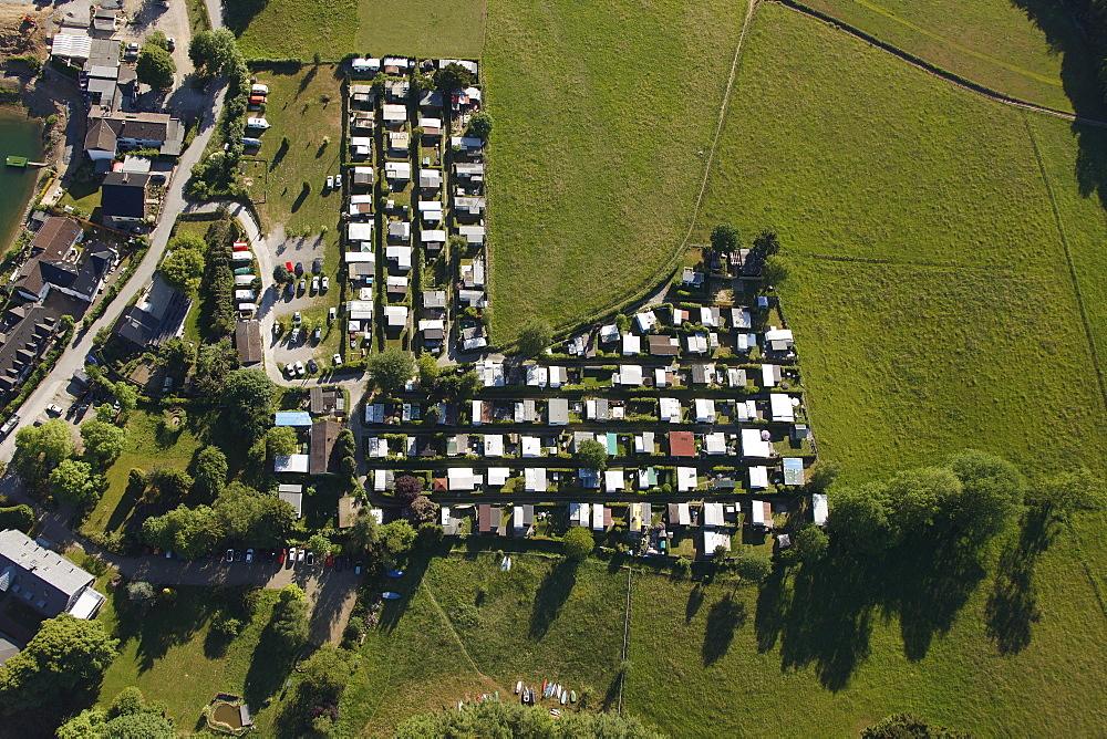 Aerial view, camping site near Bevertalsperre dam, Hueckeswagen, Radevormwald, Oberbergischer Kreis district, North Rhine-Westphalia, Germany, Europe