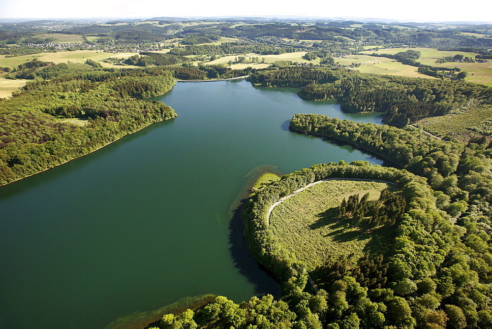 Aerial view, Kerspetalsperre dam, Kierspe, Sauerland area, Maerkischer Kreis district, North Rhine-Westphalia, Germany, Europe