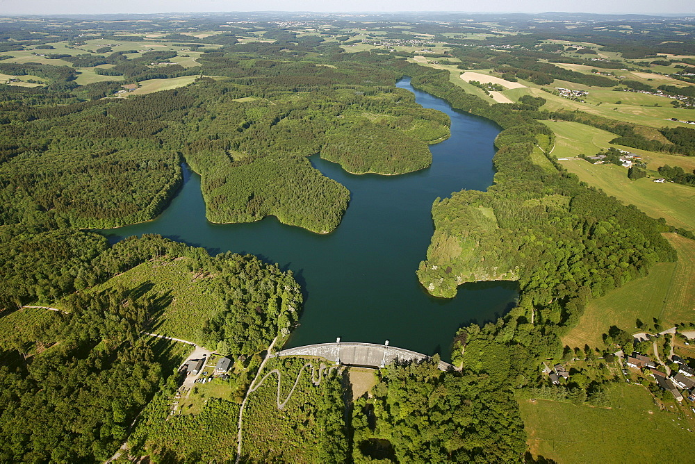 Aerial view, Neyetalsperre dam, Wipperfuerth, Oberbergischer Kreis district, North Rhine-Westphalia, Germany, Europe