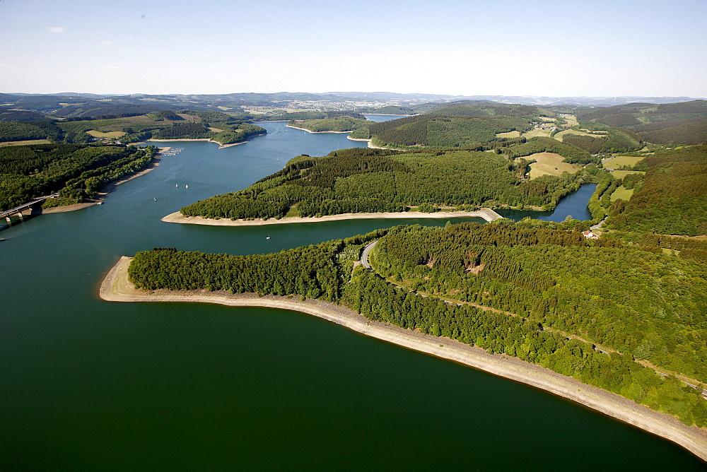 Aerial view, Lake Biggesee storage lake, Kreis Olpe county, Sauerland region, North Rhine-Westphalia, Germany, Europe