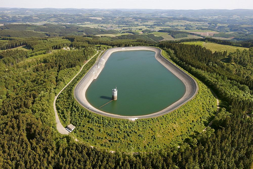 Aerial view, pumped storage power plant, pumping stations, PSW, reservoir in Roenkhausen, Kreis Olpe county, Sauerland region, North Rhine-Westphalia, Germany, Europe