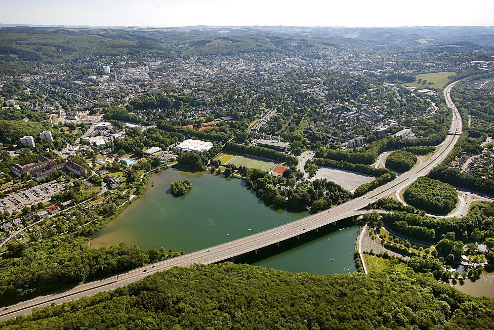 Aerial view, Lake Seilersee or Callerbachtalsperre storage lake, Iserlohn, Maerkischer Kreis area, Regierungsbezirk Arnsberg county, Sauerland region, North Rhine-Westphalia, Germany, Europe