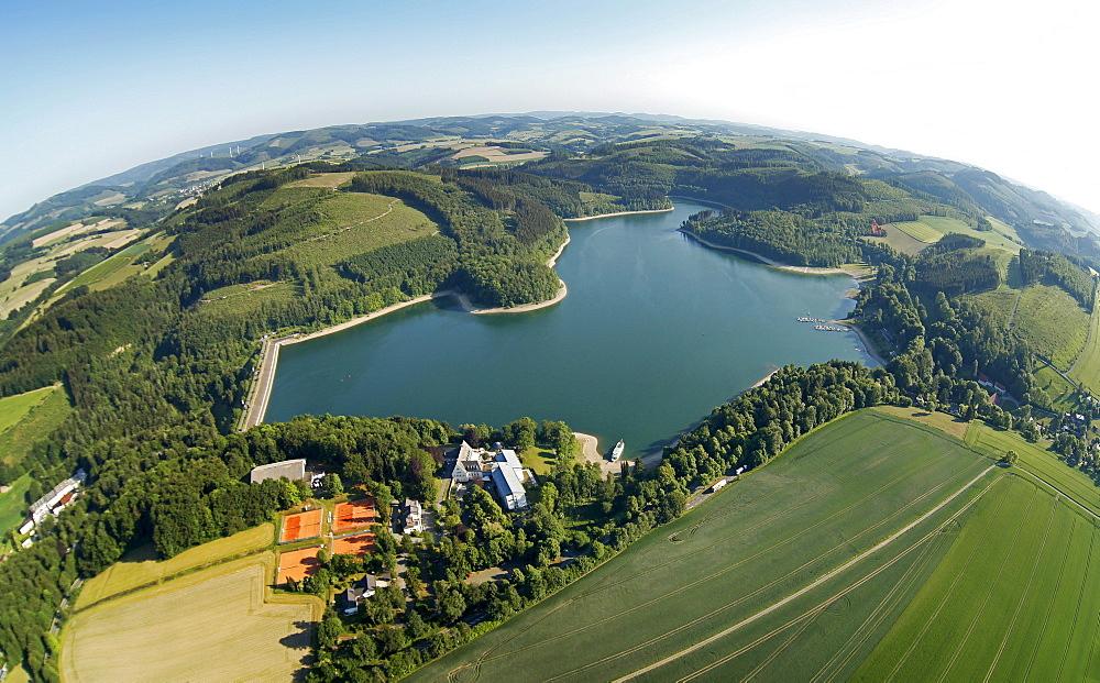 Aerial view, fisheye shot, Hennetalsperre reservoir lake, Naturpark Homert nature park near Meschede, Hochsauerlandkreis area, Sauerland region, North Rhine-Westphalia, Germany, Europe
