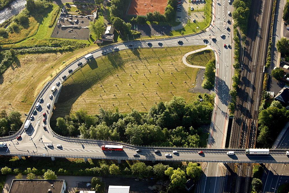 Aerial view, highway exit, Kleinbahnstrasse, Bahnhofstrasse, Arnsberg, Sauerland, North Rhine-Westphalia, Germany, Europe