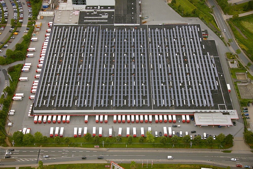 Aerial view, roof with solar panels, Ostermann discount furniture store, trucks and delivery vans, logistics centre, Annen, Witten, Ruhr Area, North Rhine-Westphalia, Germany, Europe